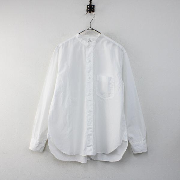 2018AW THE LIBRARY ザ ライブラリー コットン バンドカラーシャツ S/ホワイト メンズ【2400012386556】