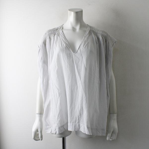 ARTS&SCIENCE アーツ&サイエンス vneck gather blouse Vネックギャザーブラウス 1/ライトグレー系 シャーリング【2400012387751】