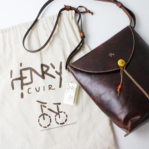 美品 HENRY CUIR アンリークイール BELLEVILLE Lサイズ PENNY CUOIO インディアン刺繍 レザーショルダーバッグ/MORO【2400012389410】