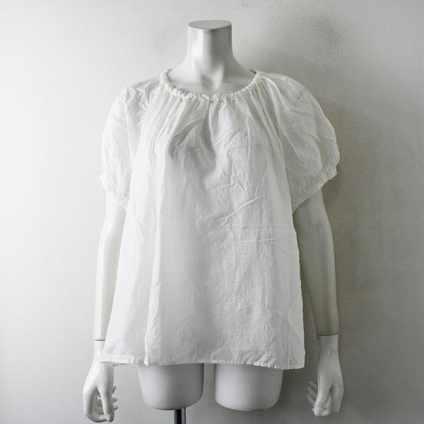 美品 nest Robe ネストローブ コットンリネン ギャザーブラウス F/ホワイト フレンチスリーブ【2400012390676】