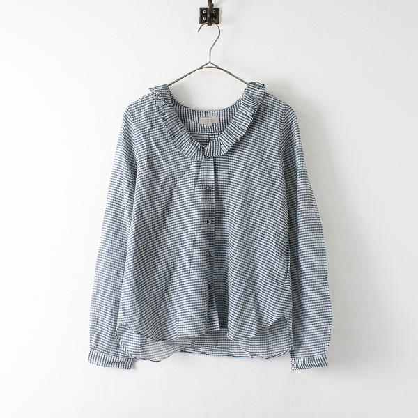 MARGARET HOWELL マーガレットハウエル コットンシルク フリル襟 チェックシャツ 1/ネイビー ホワイト 【2400012391796】