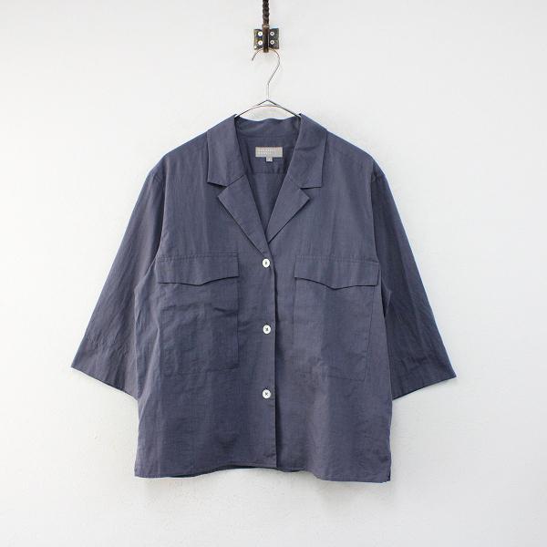 美品 2019SS MARGARET HOWELL マーガレットハウエル 578-9152002 コットン オープンカラーシャツ 2/ネイビー【2400012393189】