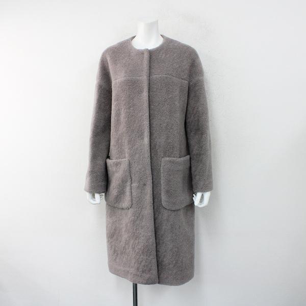 美品 定価6.3万 2020-21AW saqui サキ 21AW03 wool mouton no-collar coat 40/mauve グレー ムートンコート【2400012394582】-.