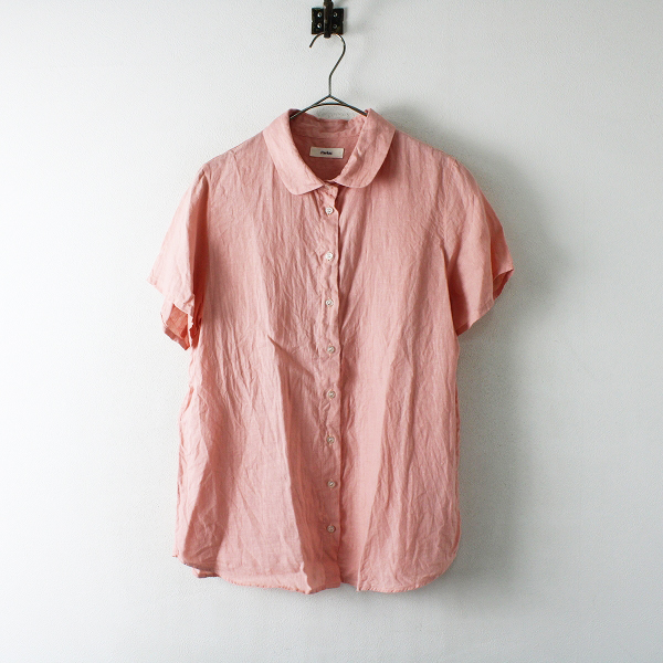 Parkes パークス 丸襟 リネンシャツ M/ピンク ブラウス 半袖【2400012394629】