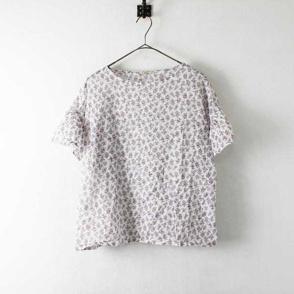 美品 SM2 Samansa Mos2 サマンサモスモス 小花柄 袖フリル ブラウス F/ホワイト ピンク【2400012394865】