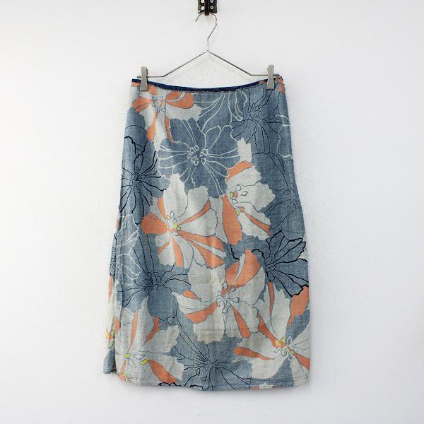 Pal'las Palace パラスパレス 大和花柄 コットン台形スカート 2/ブルー系 フラワープリント 大柄 和柄【2400012396630】