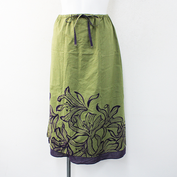 Pal'las Palace パラスパレス 百合プリント コットンウエスト紐引き台形スカート0/カーキグリーンXパープル【2400012396678】