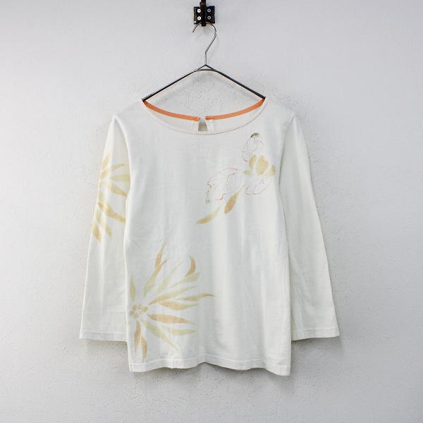 Pal'las Palace パラスパレス 手描きフラワープリントコットン長袖Tシャツ2/アイボリー 大花柄 トップス【2400012396777】