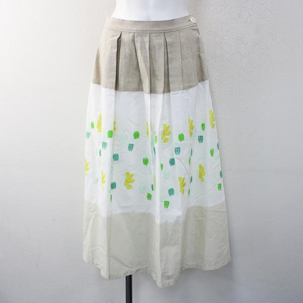 haupia ハウピア テンポドロップのある風景 配色スカート 38/サラシ ホワイト ボトムス【2400012396845】