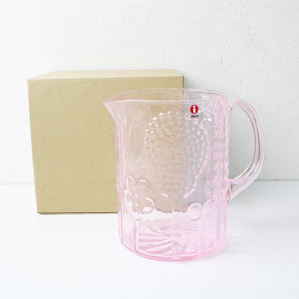 極美品 iittala イッタラ Flora フローラ ピッチャー 1.2L Oiva Toikka/限定ペールピンク PINK ガラス食器【2400012397972】