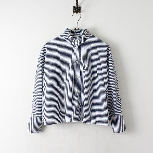 SETTO セット ストライプ コットンシャツ F/ホワイト ネイビー ショート丈 ブラウス【2400012401921】