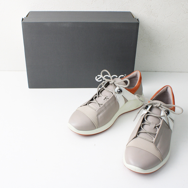 ECCO エコー FLEXURE RUNNER II WOMENS LEATHER TIE スニーカー 22.5/グレー ローズ 靴【2400012401969】
