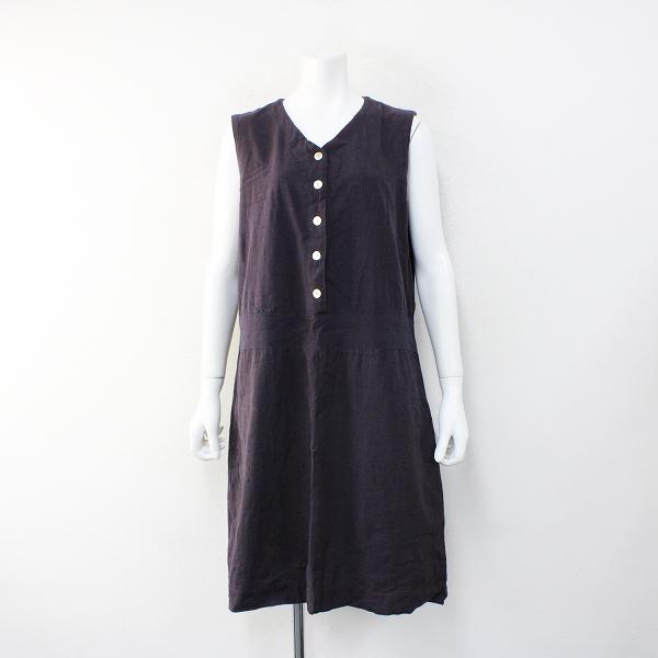YAMMA ヤンマ産業 会津木綿 ノースリーブワンピース/チャコール【2400012402263】