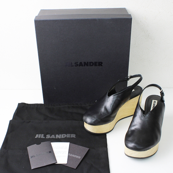 JIL SANDER ジルサンダー ウェッジソール アンクルストラップサンダル 36/ブラック レザー【2400012403208】