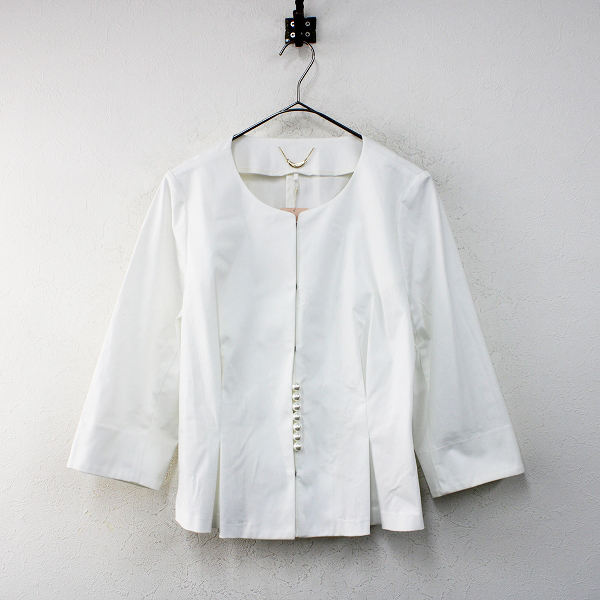 未使用 定価2.4万 大きいサイズ Rose Tiara ローズティアラ ノーカラーペプラムジャケット 42/ホワイト パールボタン【2400012403956】