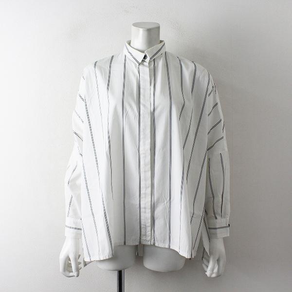 mizuiro ind ミズイロインド コットン ストライプ ワイドシャツ/ホワイト トップス【2400012404021】