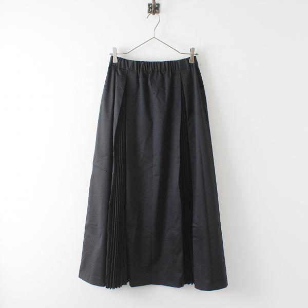 mizuiro ind ミズイロインド ボックスアコーディオンプリーツ ロングスカート/ブラック ボトムス【2400012404052】
