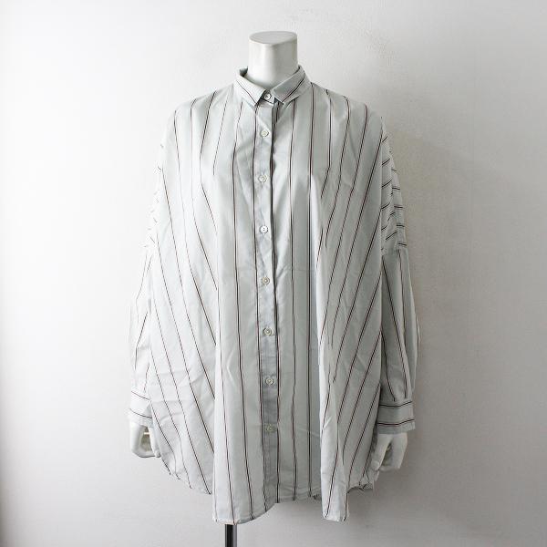 美品 mizuiro ind ミズイロインド オーバーサイズ ストライプシャツ F/ライトブルー ブラウン【2400012404557】