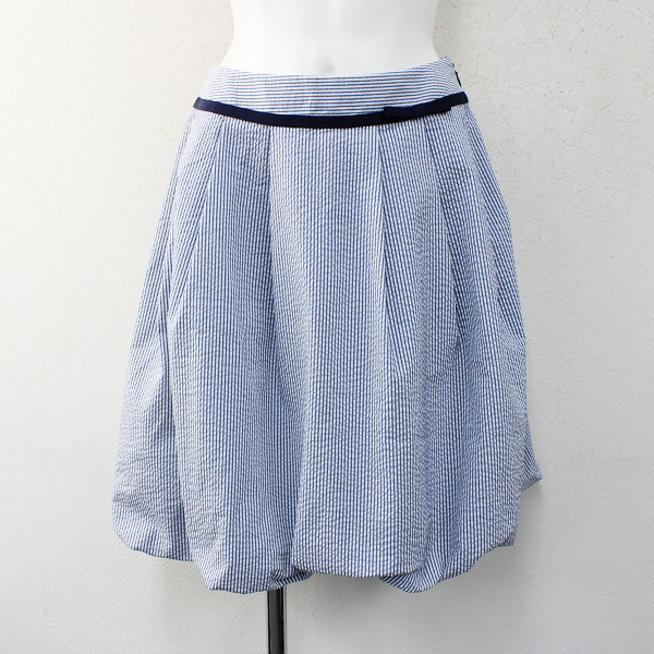M'S GRACY エムズグレイシー シアサッカープリーツバルーンスカート38/ブルー ふんわり【2400012405714】