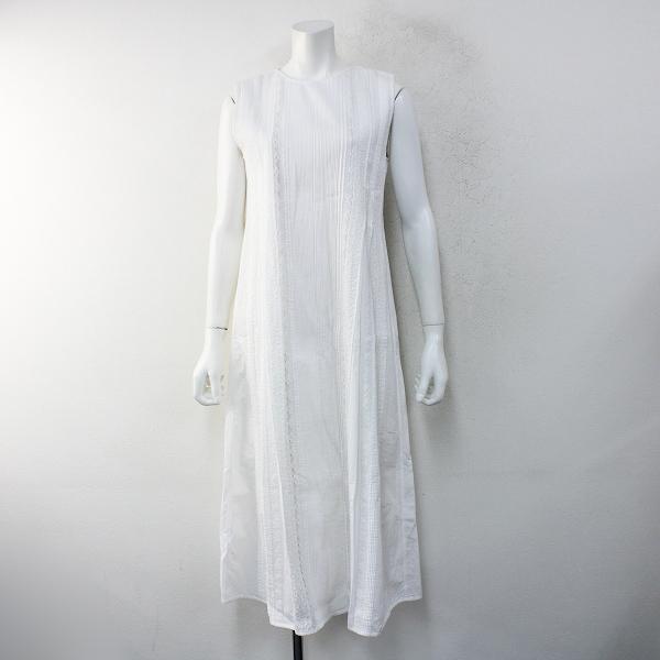 未使用品 2020SS PHEETA フィータ ピンタックレースノースリーブクルーネックワンピース1/ホワイト白 ドレス【2400012406056】