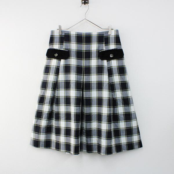 美品 大きいサイズ franche lippee フランシュリッペ タータンチェック丈長スカート 3L(FL5)/ネイビー【2400012406292】