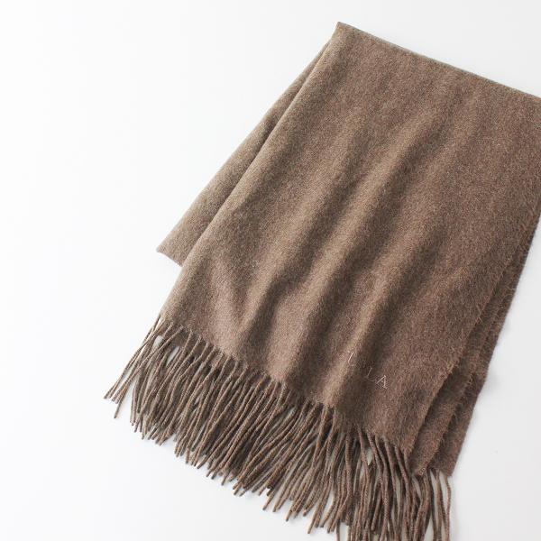 FURLA フルラ フリンジストール/ブラウン ショール ロゴ刺繍【2400012406810】