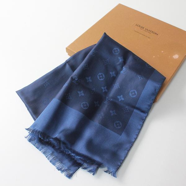 美品 LOUIS VUITTON ルイ ヴィトン モノグラムジャガード ピュアシルク100% スカーフ/ネイビー【2400012407503】