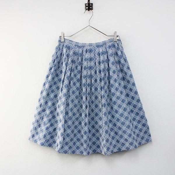 Sally Scott サリースコット コットン 総刺繍 フレアスカート 11/ブルー ボトムス【2400012408616】