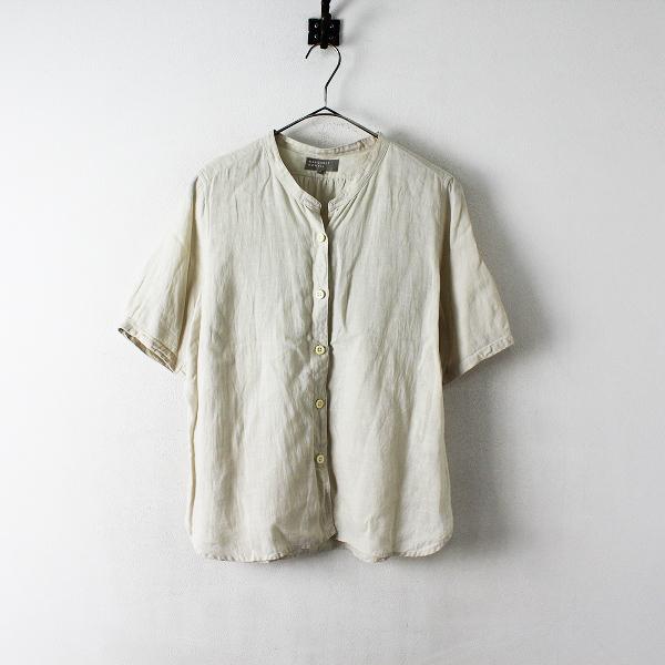 MARGARET HOWELL マーガレットハウエル リネン カラーレスシャツ 2/ライトベージュ トップス【2400012409460】