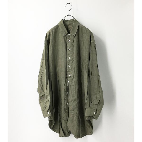 Vlas blomme ヴラスブラム コルトレイクリネン 長袖 オーバーサイズシャツ /カーキグリーン メンズ2 羽織りにも【2400012412163】