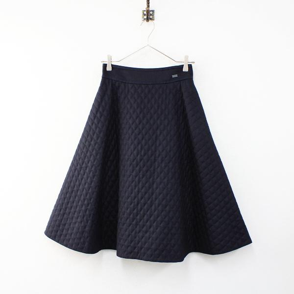 2017年 FOXEY フォクシー 37433 Skirt フレアーマトラッセ キルティングスカート 38/ミッドナイトブルー(ネイビー)【2400012412699】