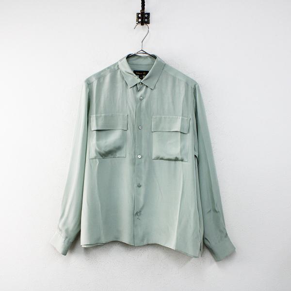 Drawer ドゥロワー シルクサテン 長袖 レギュラーカラーシャツ 36/グリーン系 【2400012412835】