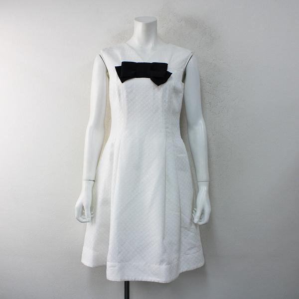 2017年 M'S GRACY エムズグレイシー ハートジャガードグログランリボンノースリーブワンピース 36/ホワイト ドレス【2400012414389】