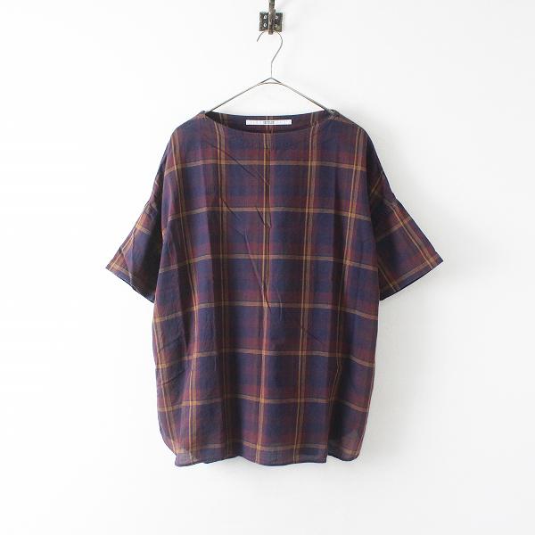 OMNIGOD オムニゴッド マドラスチェック スモックシャツ F/エンジ×ネイビー トップス【2400012414402】