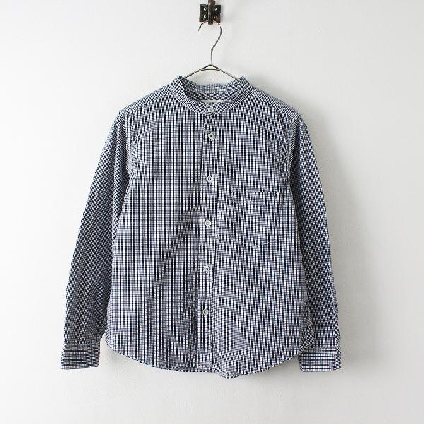 RINEN リネン コットン ギンガムチェック スタンドカラーシャツ 0/ネイビー×ホワイト トップス【2400012414457】