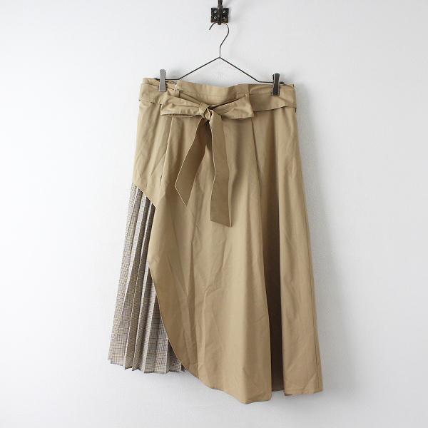 美品 大きいサイズ Rose Tiara ローズティアラ プリーツレイヤードフレアスカート 46/ベージュ チェック【2400012417571】