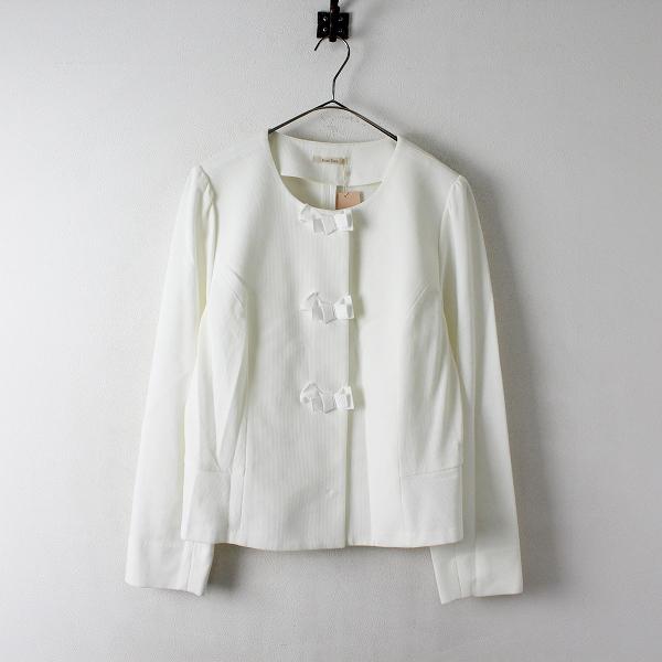 未使用 定価2.3万 大きいサイズ Rose Tiara ローズティアラ バックフリルリボンモチーフジャケット 46/オフホワイト【2400012417625】
