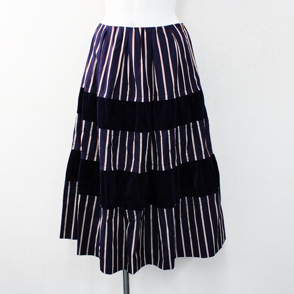 新品 未使用 2019AW Jane Marple ジェーンマープル サテンストライプベルベットスカート M/ネイビー ボリューム【2400012422346】