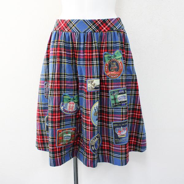極美品 Jane Marple ジェーンマープル Bonne Journee Hotel タータンチェック ウール スカート M/サックスブルー レッド【2400012422353】