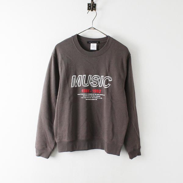 未使用品 rita jeans tokyo リタジーンズトウキョウ MUSICプリント クルーネック スウェットプルオーバー F/チャコール【2400012423992】