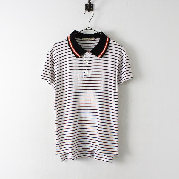 メンズ BALENCIAGA バレンシアガ コットン ボーダー ポロシャツ M/ホワイト トップス【2400012425644】