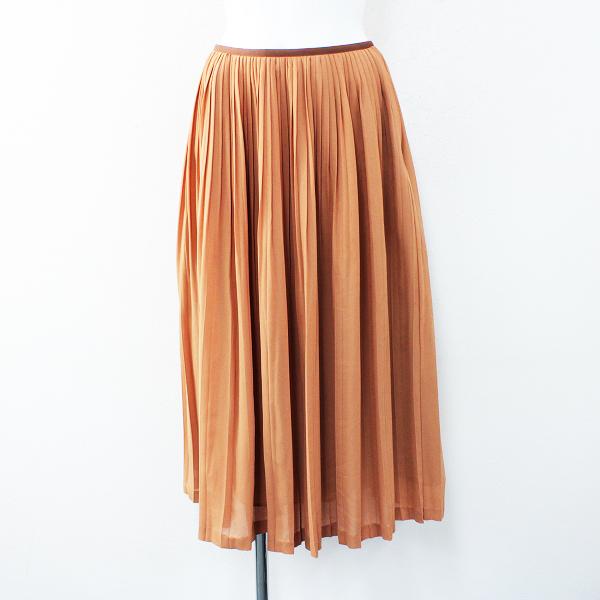 Lois CRAYON ロイスクレヨン プリーツ ロング フレア スカート M/オレンジ ボトムス【2400012427044】