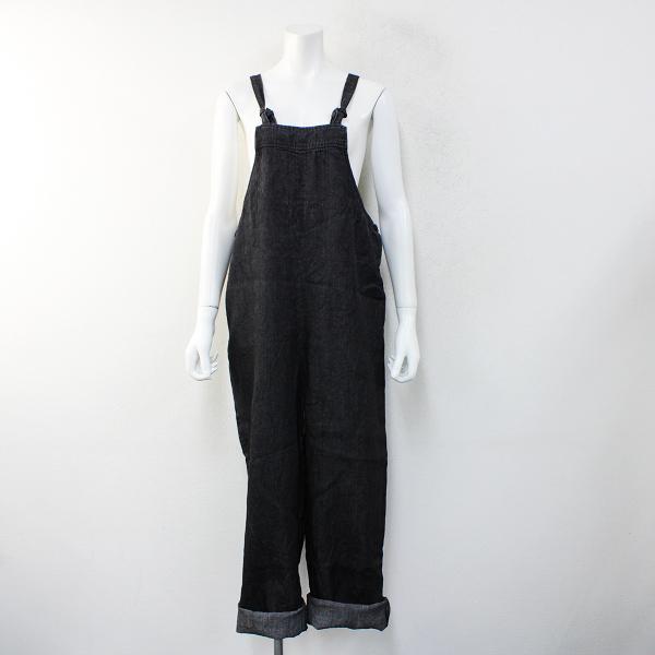 美品 2019SS koton コトン 191-555 リネンデニムサロペットパンツ F/INDIGO BLACK インディゴブラック オーバーオール【2400012431430】