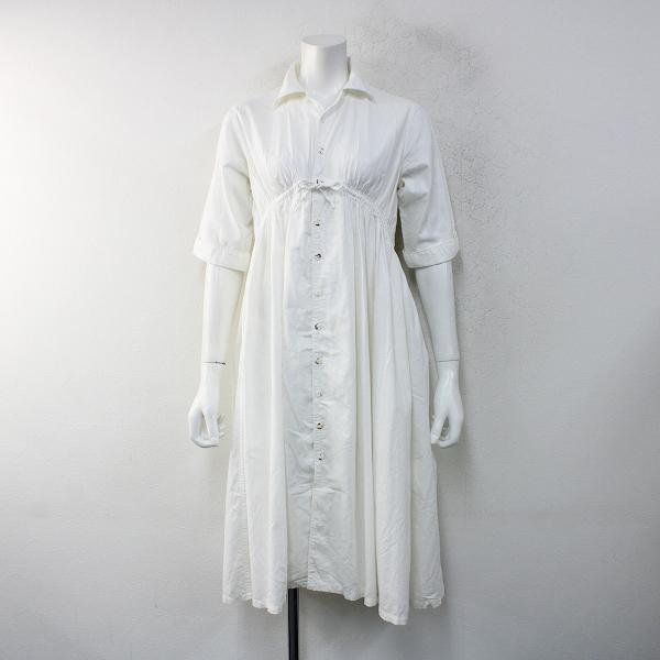 KAPITAL キャピタル オックスコットンギャザーシャツワンピース XS/ホワイト白 羽織り ハオリ ワイド フレア【2400012432758】