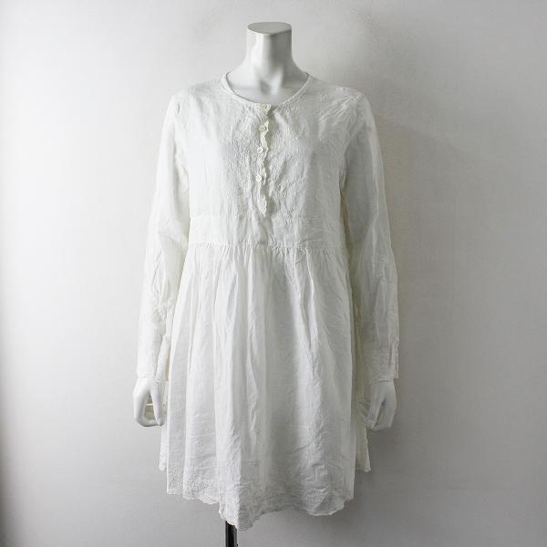 pual ce cin ピュアルセシン フラワー刺繍 ノーカラー シャツ ワンピース/ホワイト【2400012433496】