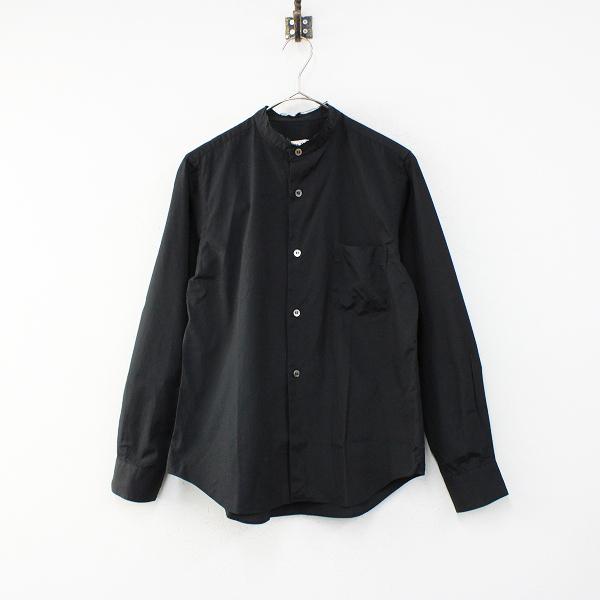 COMME des GARCONS コムデギャルソン AD2016 コットン 断ち切りスタンドカラー長袖シャツ S/ブラック黒【2400012437777】