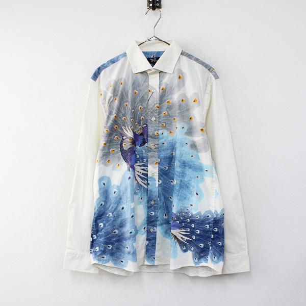 未使用 Pagong パゴン 京都 ボタンダウンシャツ 孔雀 M/青鼠 ブルー メンズ 和柄【2400012440395】