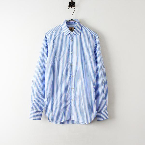 メンズ GUY ROVER ギローバー コットンストライプ長袖シャツ S/ブルー ホワイト イタリア製【2400012446311】