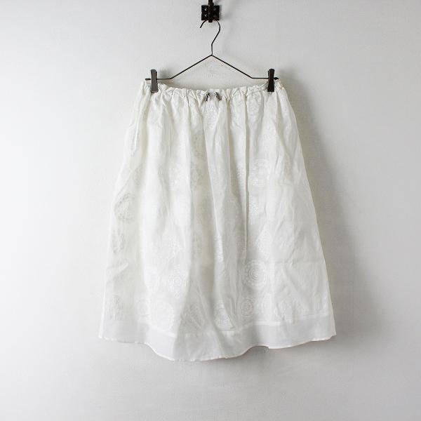 美品 2019SS Jane Marple ジェーンマープル Vintage lace print ヴィンテージレースプリントフレアスカート M/ホワイト【2400012447974】