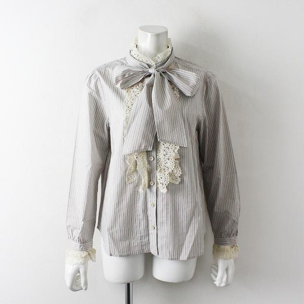 未使用品 2018AW Jane Marple ジェーンマープル Lace frill dress shirt ストライプ レースフリルドレスシャツM/グレー【2400012448193】